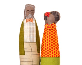 Grandparents dolls , Portrait Doll , Handmade decor doll , soft sculpture dolls , Couple gift , African America Dolls , livingRoom Decor