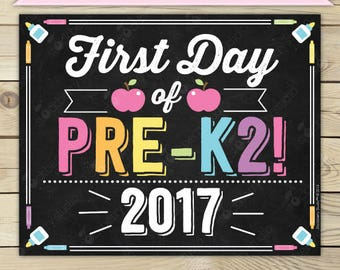 Girl First Day of Pre K2 Sign - 1st Day of School Sign Printable - Photo Props - Pre-K 2 Chalkboard Sign - Instant Download - Digital