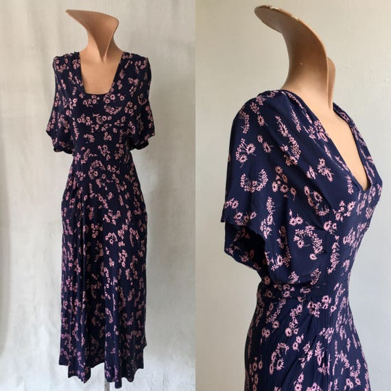1940s Navy and Lavender Daisy Print Rayon Dress, size XS