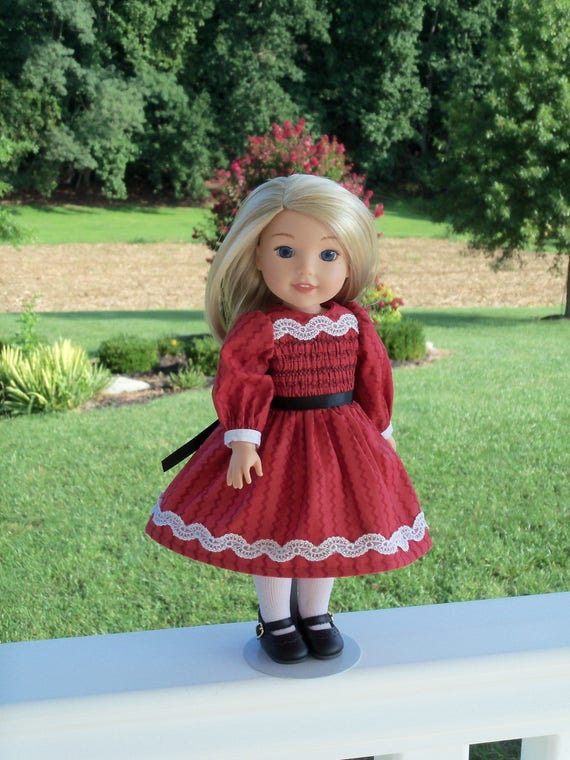 "14"" Size / Smocked  Dress  and Shoes / Doll Clothes for American Girl®  Wellie Wishers or  Other 14"" Doll"
