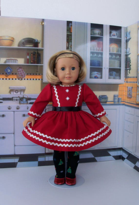 """18"""" Size/ Holiday Dress and Tights  Fits American Girl®  or Other 18"""" Dolls"""