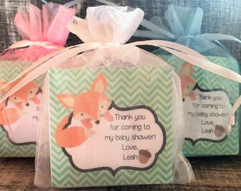 Fox Woodland Soap Favors:  Baby Shower Favors, Birthday Favors, Baby Sprinkle Favors, Woodland Favors, Woodland Shower Favors, Fox Favors