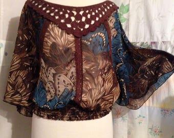 MEDIUM, Top Lightweight Boho Hippie Bohemian Flowerchld Brown Turquoise Print Blouse