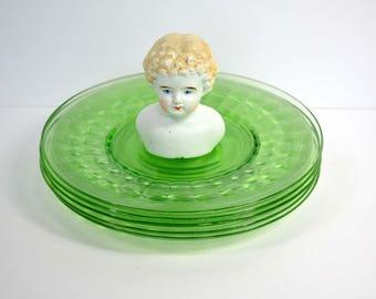Vintage Green Depression Uranium Glass Plates 1920s 1930s (set of 11)