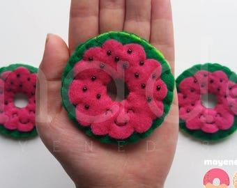 watermelon donut brooch, felt food pin