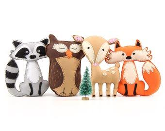 Woodland Stuffed Animal Patterns, Felt Fox Owl Deer Raccoon Plushie Patterns, Softies, Hand Sewing Christmas Gift, Stuffed Animals