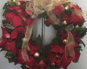 Traditional ted and gold poinsettia wreath