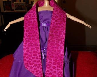 Fasahion Doll Coordionates - Extra long pink Leopard print stole - es451