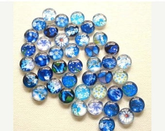 30% Off - Excess Stock - Bulk 50pcs (25pair) 12mm Handmade Theme Blue Random Glass Photo Cabochon CPC161-M12