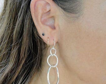 Hammered Circle Earrings - Sterling Silver  Dangle Drop Earrings for Everyday Wearable Jewelry - Birthday Gift Ideas