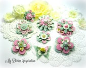 Ivory, Pink, Green and Yellow Paper Embellishments, Paper Flowers for Scrapbooking Cards Mini Albums Tags Journals Planners and Paper Crafts