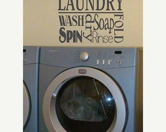 20% OFF Laundry Collage- Vinyl Lettering wall words graphics  decals  Art Home decor itswritteninvinyl