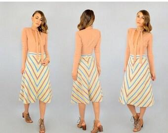 SUMMER SALE 70's Chevron Stripe Midi Skirt