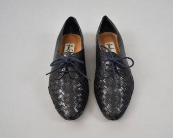 Woven Leather Oxford Flats (US 7.5)