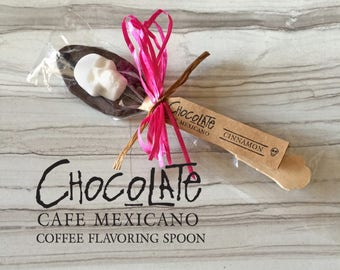 """Cinnamon Chocolate Hand-Dipped Spoons """"Coffee Gift"""" // Gift for coffee lovers // Sugar Skulls Valenitne Treat // Cafe Mexicano"""