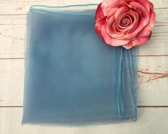 Vintage Nylon Scarf - Vintage Sheer Scarf - Blue Sheer Scarf - 50s Vintage Scarf - Pin Up Scarf