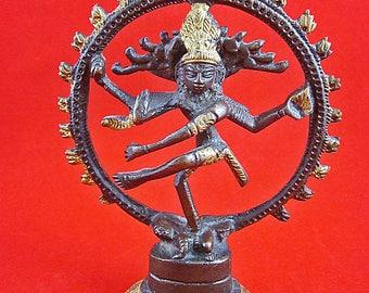 Vintage, Hindu Lord Shiva as Nataraja Figure, Bronze, Brass, Copper, Religious, Sculpture, Estate Item, Décor, Siam, Thailand, 5 Inches