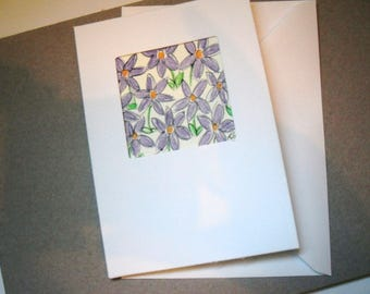 Purple Floral Greetings Card, Watercolour Flowers, Blank Card, Note Card, Birthday Card