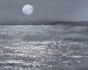 Original watercolour painting full moon ocean headland seascape