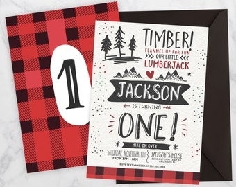 Plaid birthday invitation