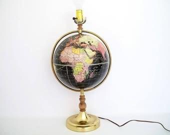 """Vintage World Globe Lamp c1957 Cram's 10.5"""" Scarce Size"""