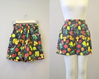 1980s Bonjour Fruit Print Cotton Shorts