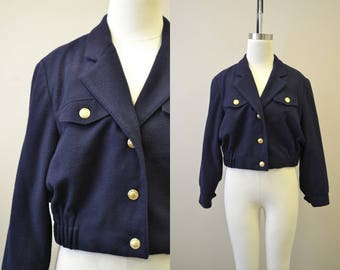 1980s Bill Blass Navy Jacket