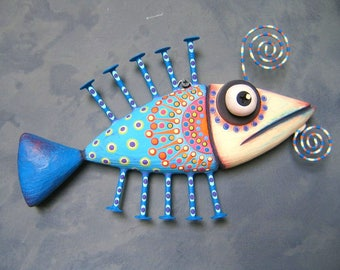 Fish Wall Art, Blue Sardine, Original Found Object Wall Sculpture, Wood Carving, Wall Decor, Marine Art, by Fig Jam Studio