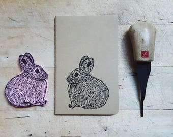 Columbia Basin Pygmy Rabbit Notebook Moleskine Journal Hand Carved Linocut Nature Summer Camp Outdoors Camping Birthday Gift Boys Men Women