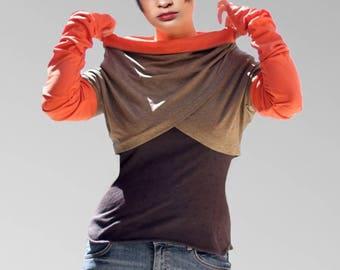 Orange khaki asymmetrical Bolero long sleeves,