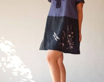 Dress tunic linen short purple and black embroidery
