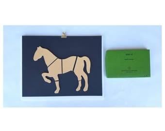 Wall Art / Vintage 1970 Psychology Art / IQ Puzzle / Wall Decor / Horse / Equestrian / Vintage Art