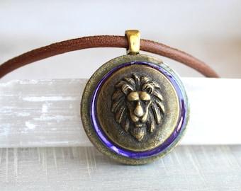purple lion necklace, mens jewelry, lion jewelry, mens necklace, unique gift, nature necklace, animal necklace, mens gift, leo necklace