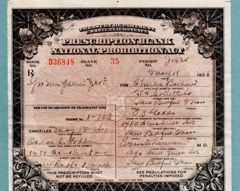 5/18 1926 Prohibition Prescription Brandy Wine Doctor Speakeasy Antique Pharmacy Medical Alcohol Distillery New Bedford MA Apothecary Bar