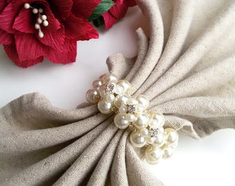 Wedding Table Decoration - Wedding Napkin Rings - Pearl Napkin Rings - Beaded Napkin Rings - Ivory napkin rings - Set of 6