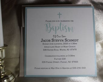 Simple Boys Baptism Invitation - Christening, First Communion, Confirmation, Dedication - Baptismal Invitations - 1st Holy communion invite