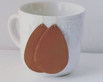 Cognac Brown Leather Teardrop Drop Earrings