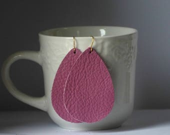 Mauve Pink Leather Teardrop Drop Earrings