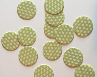 """1"""" pre-cut CIRCLE CONFETTI (100 pc)  --  Chartreuse Green/Ivory --  create you own garland, envelope seals, favor tags & more!"""