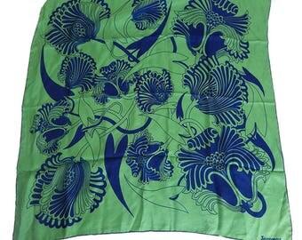 Original 1970s Jacqmar Green & Blue Silk Vintage Scarf