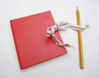 Small notebook, little journal, book cloth, full cloth, red, woven ribbon