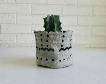 Black and Gray Tribal Mudcloth Plant Cover - Planter Fabric - Modern Bohemian Decor