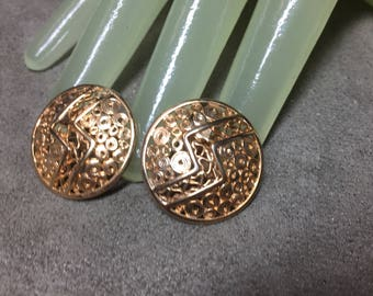 """Vintage 1"""" Goldtone Round Disc Like Button Style Clip On Earrings"""