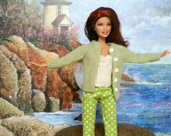 3-piece Barbie Outfit. Green and white polka dot shorts, natural top, cashmere cardigan. Summer outfit. Model muse. Fashion Royalty OOAK