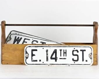 Vintage Metal Street Sign Vintage Street Sign Black And White Street Sign Metal Vintage Road Sign Old Road Sign Industrial Sign E 14th St.