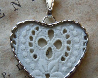Fiona & The Fig - 1880s Antique Victorian Lace Charm -  Necklace - Pendant - Jewelry