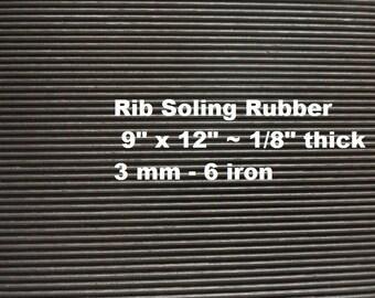 Shoe Rubber, Fine Rib Soling Rubber, Heavy Tread Rubber, Waterproof Soles, SoleTech Rubber, Outdoor Shoe Supplies, 9 X 12 Sheet