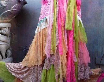 20%OFF wedding skirt,tattered skirt, mori girl, stevie nicks, bohemian skirt, gypsy skirt, lagenlook skirt, bellydance, wrap skirt, xxs, xs