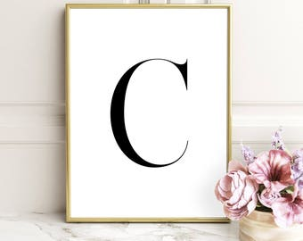 SALE -50% Letter C Monogram Alphabet Name Digital Print Instant Art INSTANT DOWNLOAD Printable Wall Decor