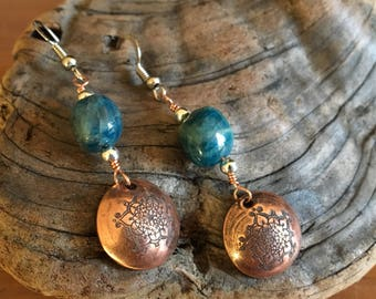 Mandala VW Bus Stamped Copper Earrings with natural stone Beads on Earrings  Surgical Steel Hooks
